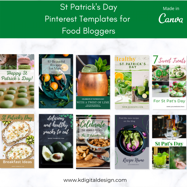 10 Pinterest Food Blogger templates for St Patrick's Day