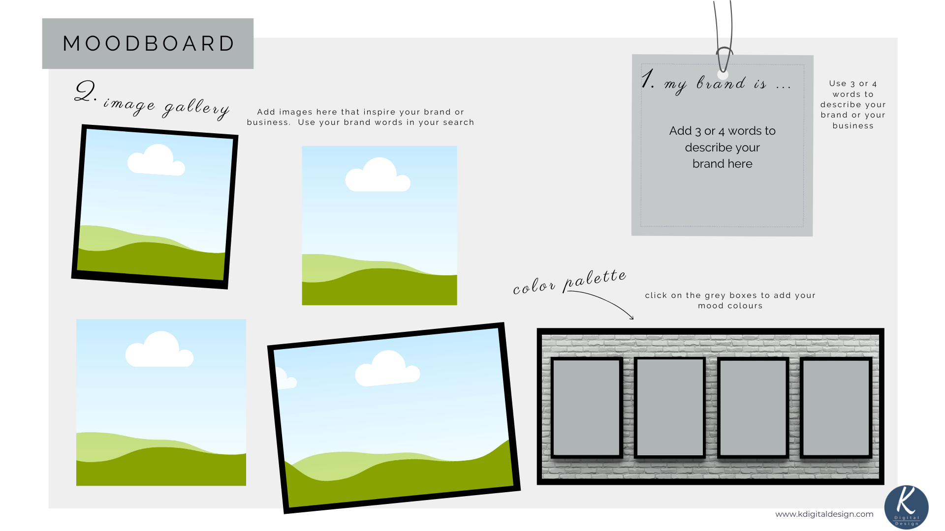 Mood Board template in canva.  Sign up to K Digital Design to get free template