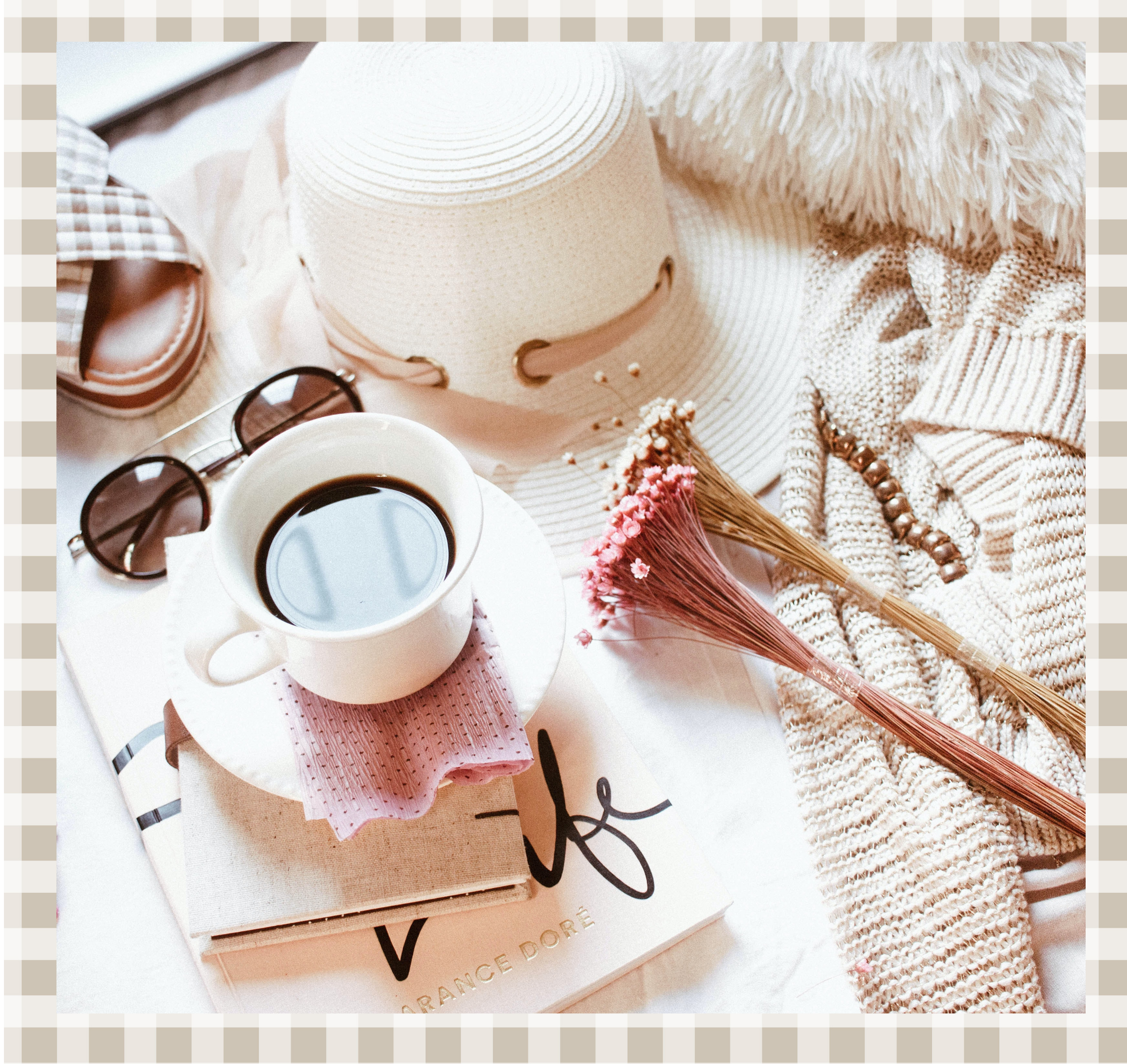 pale pink and cream branding colours showing a coffee cup, hat, flowers and sunglasses